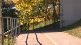 HD2008-10-1b-1 Runner On Bike Path Autumn stock footage