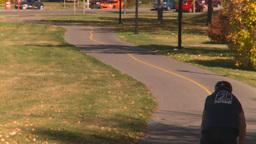 HD2008-10-1b-3 cyclist on bike path autumn Stock Video Footage