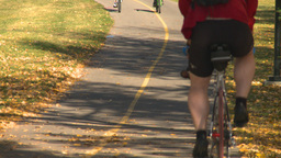 HD2008-10-1b-7 cyclist on bike path autumn Stock Video Footage