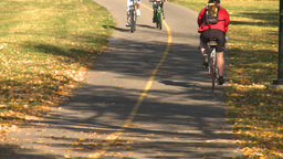HD2008-10-1b-7 cyclist on bike path autumn Stock Video Footage