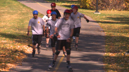 HD2008-10-2-60 bicycle path roller blades Stock Video Footage