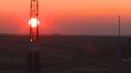 HD2008-10-3-5 sunrise oil rig Z Stock Video Footage