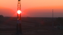 HD2008-10-3-5 sunrise oil rig Z Stock Video Footage