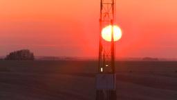 HD2008-10-3-7 sunrise oil rig Z Stock Video Footage