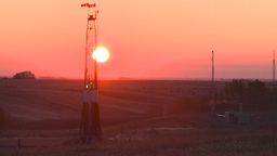 HD2008-10-3-9 sunrise oil rig Stock Video Footage