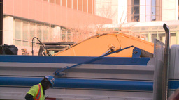 HD2008-10-4-28 construction site backhoe dumptruck Stock Video Footage