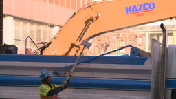 HD2008-10-4-28 construction site backhoe dumptruck Stock Video Footage