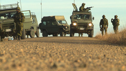 HD2008-10-5-3 soldier and trucks Stock Video Footage