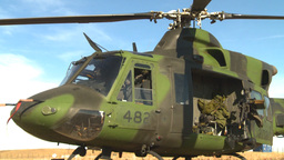 HD2008-10-11-9 heli parked on ground Stock Video Footage