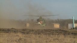 HD2008-10-16-13 helo landing dusty Stock Video Footage