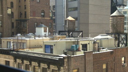 HD2008-9-1-3 NYC buildings rooftop water reservoirs Stock Video Footage