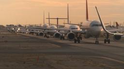 HD2008-9-1-17 int aircraft look at runway aircrafts lined up Stock Video Footage