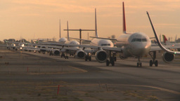 HD2008-9-1-17 int aircraft look at runway aircrafts lined up Stock Video Footage