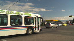 HD2008-9-1-35 gas stn traffic bus Stock Video Footage