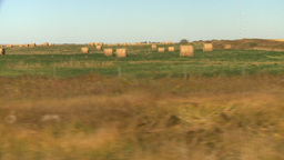 HD2008-9-3-45 drive wheat fields hay rolls Stock Video Footage