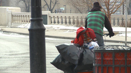 HD2009-4-2-9 homeless and bike Stock Video Footage