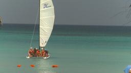 HD2009-4-6-10 Cuba beach sailboat Stock Video Footage