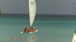 HD2009-4-6-10 Cuba beach sailboat Stock Video Footage