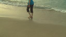 HD2009-4-6-57 Cuba beach sunset woman on beach Stock Video Footage