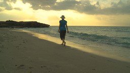 HD2009-4-6-61 Cuba beach sunset woman on beach Stock Video Footage
