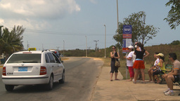 HD2009-4-7-17 Cuba highway bus stop Footage