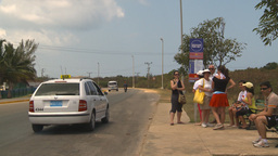 HD2009-4-7-17 Cuba highway bus stop Stock Video Footage