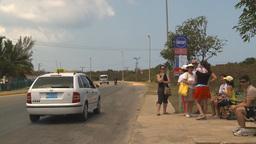 HD2009-4-7-17 Cuba highway bus stop Stock Video Footage