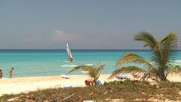HD2009-4-7-25 Cuba beach sailboat Stock Video Footage