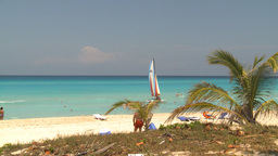 HD2009-4-7-25 Cuba beach sailboat Stock Video Footage