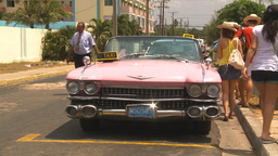 HD2009-4-7-37 Cuba pink caddy taxi Stock Video Footage