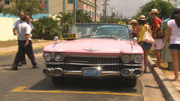 HD2009-4-7-37 Cuba pink caddy taxi Footage
