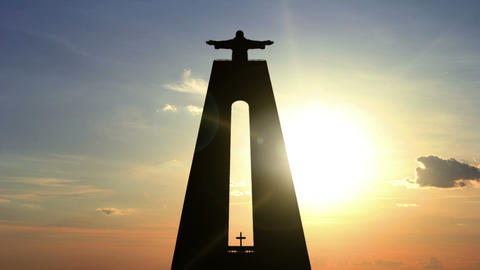 Sunrise and Statue of Christ the King. Time Lapse Footage