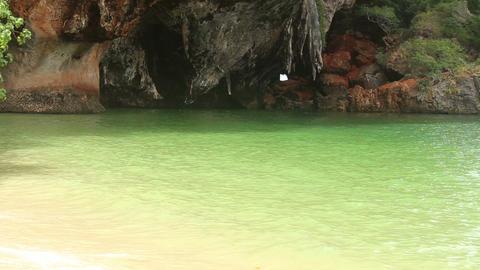 rock is near the azure sea Stock Video Footage