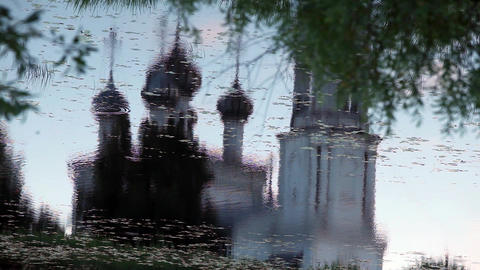Christianity temple Reflection in water Footage