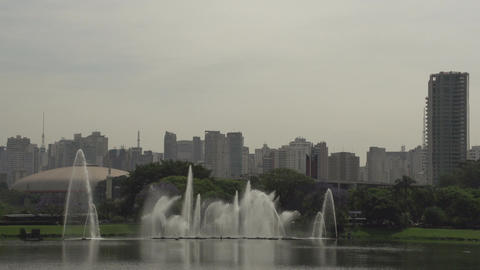 009 Sao Paulo , Ibirapuera park , waterfountain , Stock Video Footage