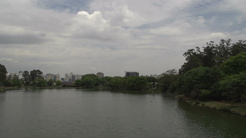 017 Sao Paulo , Ibirapuera park , pond , skyline Stock Video Footage
