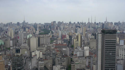 044 Sao Paulo , skyline , traffic from above Footage
