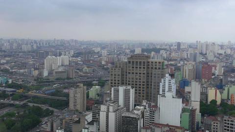 046 Sao Paulo , skyline , traffic from above Footage
