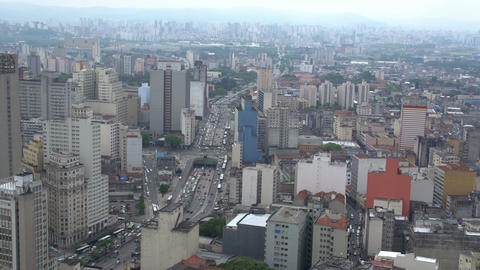 047 Sao Paulo , skyline , traffic from above Stock Video Footage