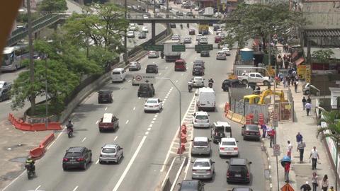 051 Sao Paulo , cars , traffic , people , highway Footage