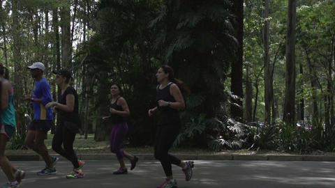 057 Sao Paulo , Ibirapuera park , slowmotion runne Footage