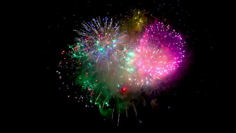 Beautiful Fireworks Finale Colorful stock footage