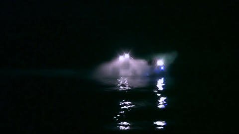 Night Motor Boat Footage