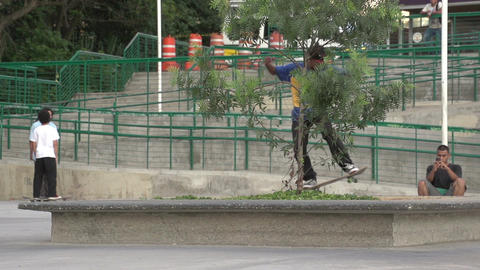 089 Sao Paulo , skateboarding in park , slowmotion Footage