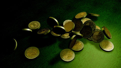 Euro coins falling on a green velvet table Animation