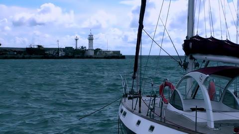 BOAT NEAR THE SEA SHORE HD Footage