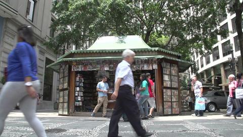 096 Sao Paulo , Bookshop , streetscene , people wa Stock Video Footage