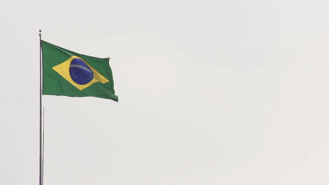 104 Sao Paulo , flag of Brazil on white sky Stock Video Footage