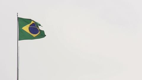 104 Sao Paulo , flag of Brazil on white sky Stock Video Footage