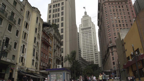 108 Sao Paulo , skyline , people on the street , t Footage
